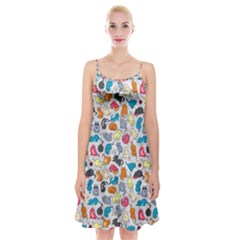 Funny Cute Colorful Cats Pattern Spaghetti Strap Velvet Dress