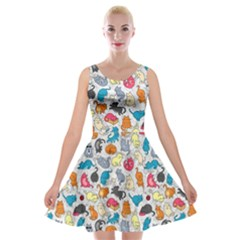 Funny Cute Colorful Cats Pattern Velvet Skater Dress