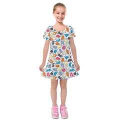 Funny Cute Colorful Cats Pattern Kids  Short Sleeve Velvet Dress