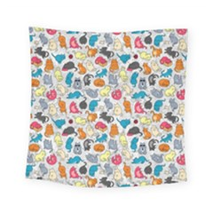 Funny Cute Colorful Cats Pattern Square Tapestry (small)