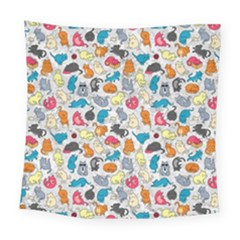 Funny Cute Colorful Cats Pattern Square Tapestry (large)