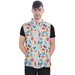 Funny Cute Colorful Cats Pattern Men s Puffer Vest
