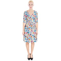 Funny Cute Colorful Cats Pattern Wrap Up Cocktail Dress