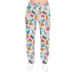 Funny Cute Colorful Cats Pattern Velvet Drawstring Pants