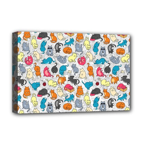 Funny Cute Colorful Cats Pattern Deluxe Canvas 18  X 12