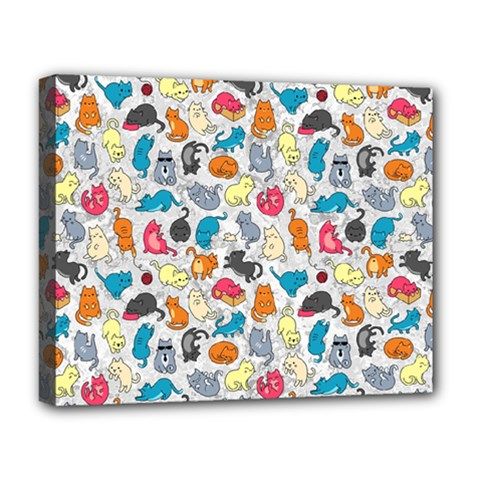 Funny Cute Colorful Cats Pattern Deluxe Canvas 20  X 16