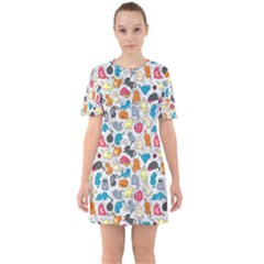 Funny Cute Colorful Cats Pattern Sixties Short Sleeve Mini Dress