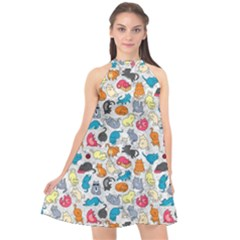 Funny Cute Colorful Cats Pattern Halter Neckline Chiffon Dress