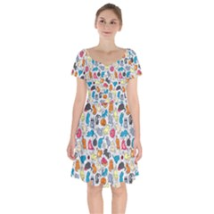 Funny Cute Colorful Cats Pattern Short Sleeve Bardot Dress