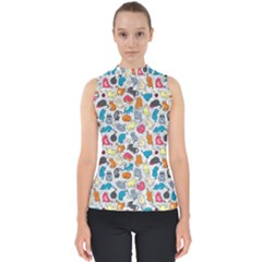 Funny Cute Colorful Cats Pattern Shell Top