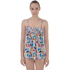 Funny Cute Colorful Cats Pattern Babydoll Tankini Set