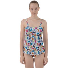 Funny Cute Colorful Cats Pattern Twist Front Tankini Set