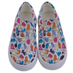 Funny Cute Colorful Cats Pattern Kids  Canvas Slip Ons