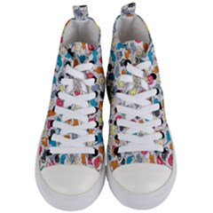 Funny Cute Colorful Cats Pattern Women s Mid Top Canvas Sneakers