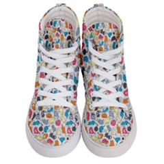 Funny Cute Colorful Cats Pattern Men s Hi Top Skate Sneakers