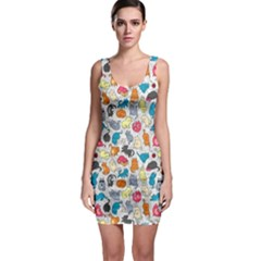 Funny Cute Colorful Cats Pattern Bodycon Dress