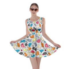 Funny Cute Colorful Cats Pattern Skater Dress