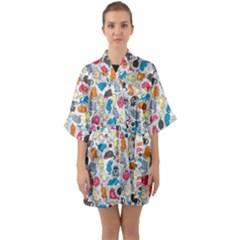 Funny Cute Colorful Cats Pattern Quarter Sleeve Kimono Robe