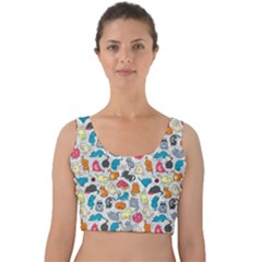 Funny Cute Colorful Cats Pattern Velvet Crop Top