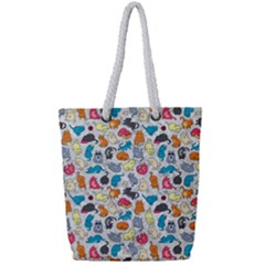 Funny Cute Colorful Cats Pattern Full Print Rope Handle Tote (small)