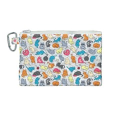 Funny Cute Colorful Cats Pattern Canvas Cosmetic Bag (medium)