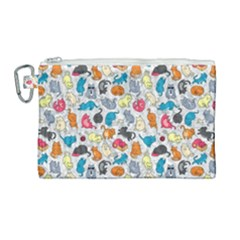 Funny Cute Colorful Cats Pattern Canvas Cosmetic Bag (large) by EDDArt