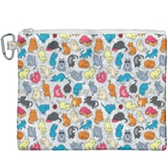 Funny Cute Colorful Cats Pattern Canvas Cosmetic Bag (xxxl)