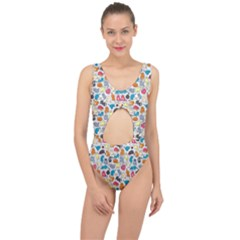 Funny Cute Colorful Cats Pattern Center Cut Out Swimsuit