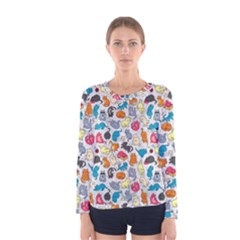 Funny Cute Colorful Cats Pattern Women s Long Sleeve Tee