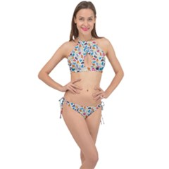 Funny Cute Colorful Cats Pattern Cross Front Halter Bikini Set