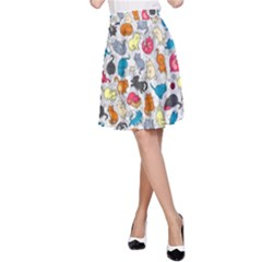 Funny Cute Colorful Cats Pattern A Line Skirt