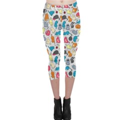 Funny Cute Colorful Cats Pattern Capri Leggings