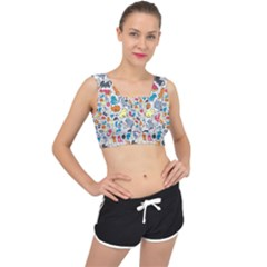 Funny Cute Colorful Cats Pattern V Back Sports Bra