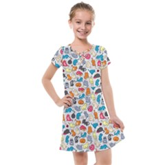 Funny Cute Colorful Cats Pattern Kids  Cross Web Dress