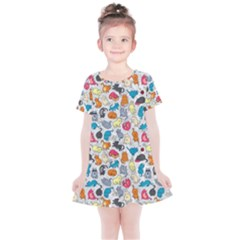 Funny Cute Colorful Cats Pattern Kids  Simple Cotton Dress