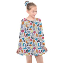 Funny Cute Colorful Cats Pattern Kids  Long Sleeve Dress