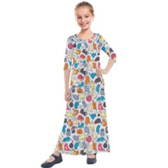 Funny Cute Colorful Cats Pattern Kids  Quarter Sleeve Maxi Dress