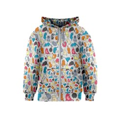 Funny Cute Colorful Cats Pattern Kids  Zipper Hoodie