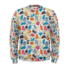 Funny Cute Colorful Cats Pattern Men s Sweatshirt