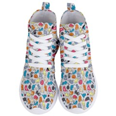 Funny Cute Colorful Cats Pattern Women s Lightweight High Top Sneakers