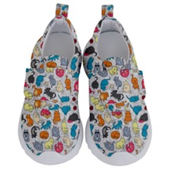 Funny Cute Colorful Cats Pattern Velcro Strap Shoes