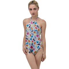 Funny Cute Colorful Cats Pattern Go With The Flow One Piece Swimsuit