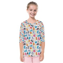 Funny Cute Colorful Cats Pattern Kids  Quarter Sleeve Raglan Tee