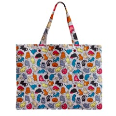 Funny Cute Colorful Cats Pattern Zipper Mini Tote Bag