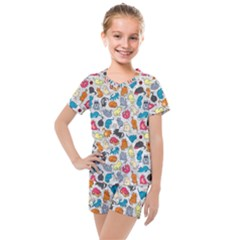 Funny Cute Colorful Cats Pattern Kids  Mesh Tee And Shorts Set