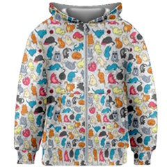 Funny Cute Colorful Cats Pattern Kids Zipper Hoodie Without Drawstring