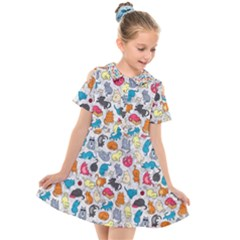 Funny Cute Colorful Cats Pattern Kids  Short Sleeve Shirt Dress