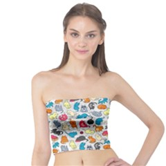Funny Cute Colorful Cats Pattern Tube Top