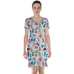 Funny Cute Colorful Cats Pattern Short Sleeve Nightdress
