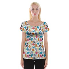 Funny Cute Colorful Cats Pattern Cap Sleeve Tops